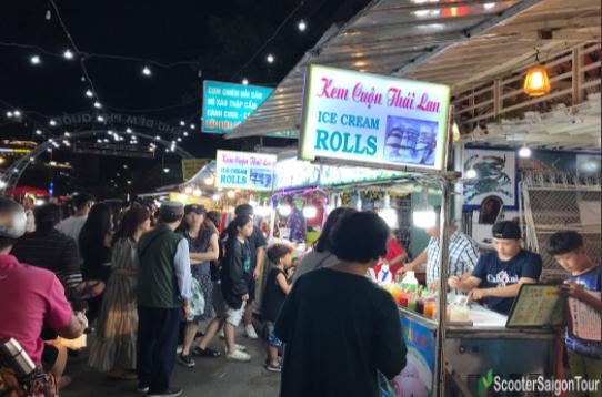 Ice Cream Rolls  Stall at Asian Street Food Market