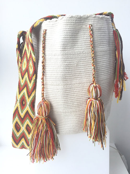 White & Rastafari Strap - Wayúu Handbag
