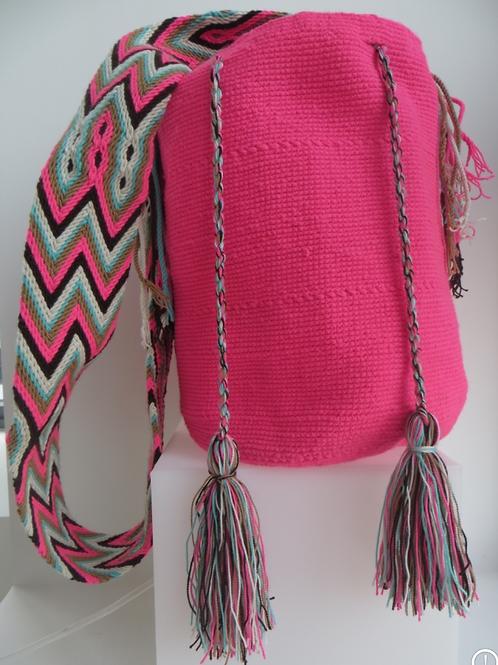 Intense pink - Singlecolor Wayúu Handbag - SC222005