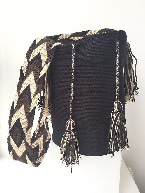 Black & Brown, Beige, Black Strap - Singlecoloured Wayúu Handbag