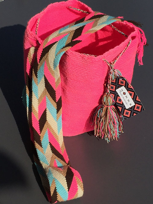 Neon Pink, Blue, Gray & Black - Arijuna Handbag