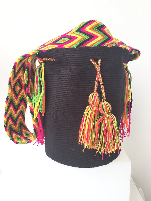 Black & Yellow, Green, Pink - Singlecoloured Wayúu Handbag