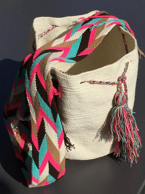 White, Neon Pink, Blue & Brown - Arijuna Handbag