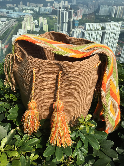 Caramel, green & orange - Arijuna Handbag