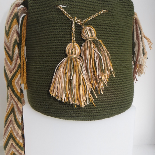 Medium Size Wayúu Bag - Singlecolor Green SSC222021