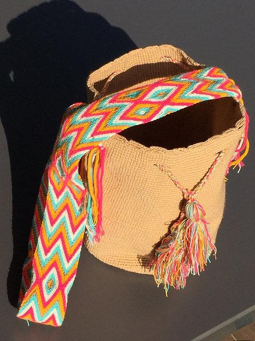 Camel, Pink, Green & White - Arijuna Handbag