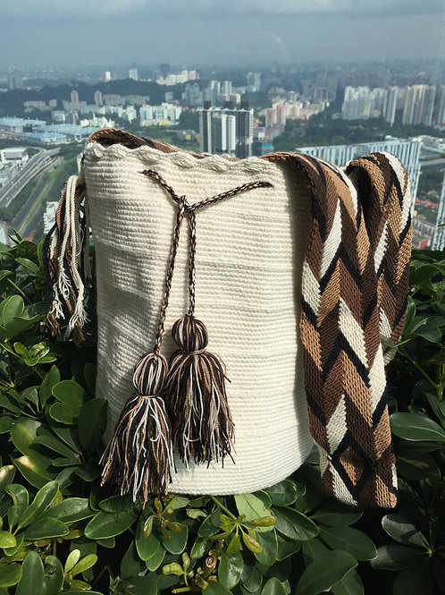 White, Brown & Caramel - Arijuna Handbag