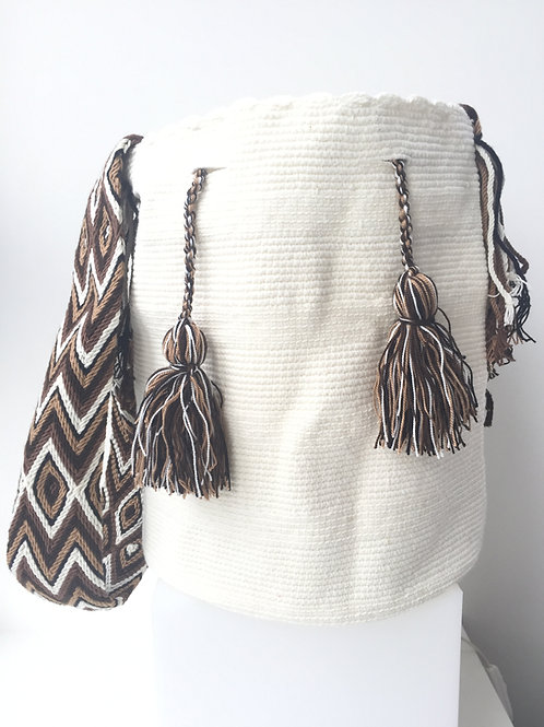 White Arijuna Bag with Brown, Beige & White Strap