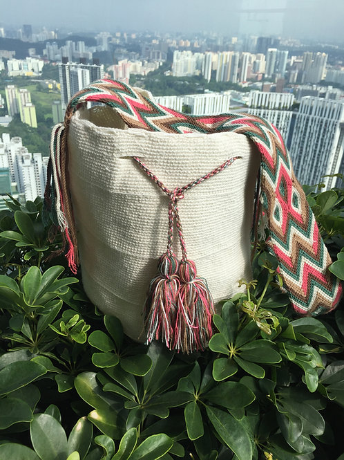 White, pink & green - Arijuna Handbag