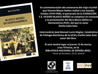 """Presentación del libro """"Blasco Ibáñez en Norteamérica"""" de Emilio Sales en la BNE"""