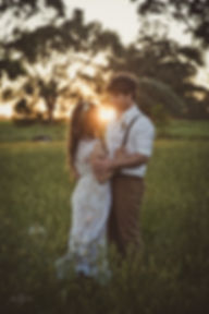 Margaret River Wedding - bride and groom in bush setting with sunset