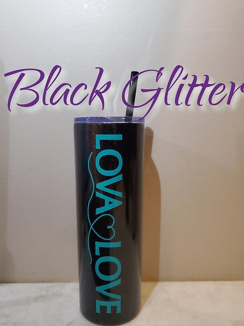 20oz Tumbler - Black Glitter