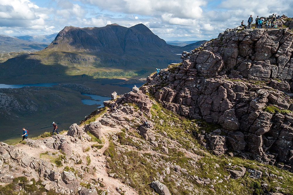 An serial shot of the high ridge of Stac Pollaidh with Cul Mor in the background