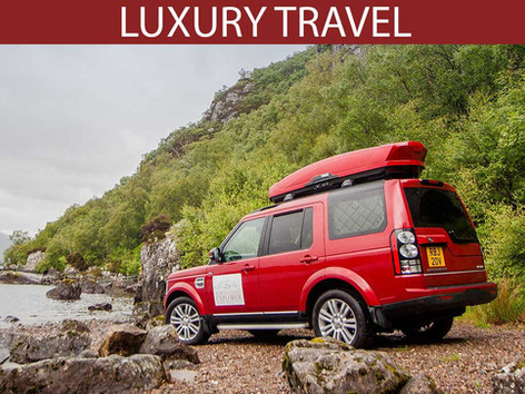 Luxury travel - our Land Rover gets off the beaten track.