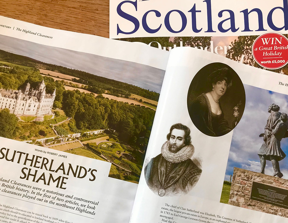 The front cover of Scotland Magazine and a double page inside spread of an article about The Highland Clearances in Sutherland.