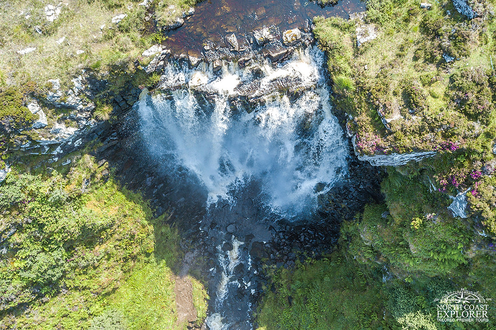 An aerial shot of the Clashnessie waterfalls