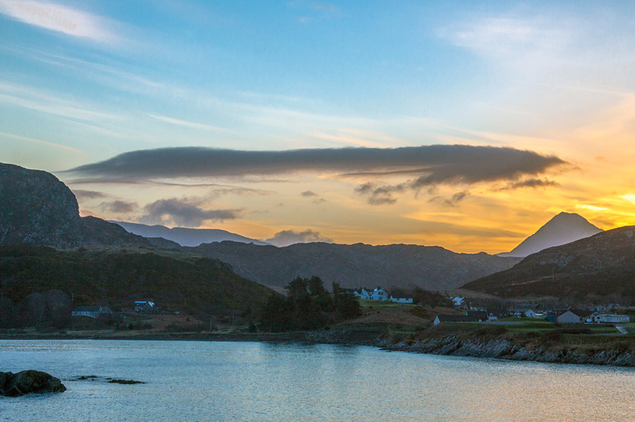 Sunrise over Scourie and Ben Stack