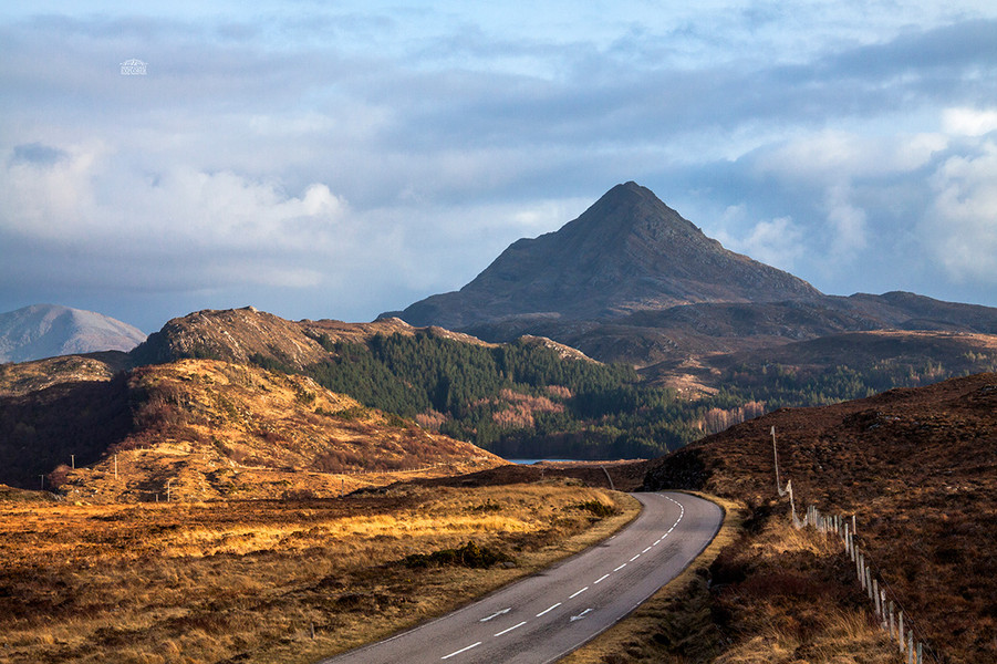 The NC500 route towards Ben Stack, Sutherland
