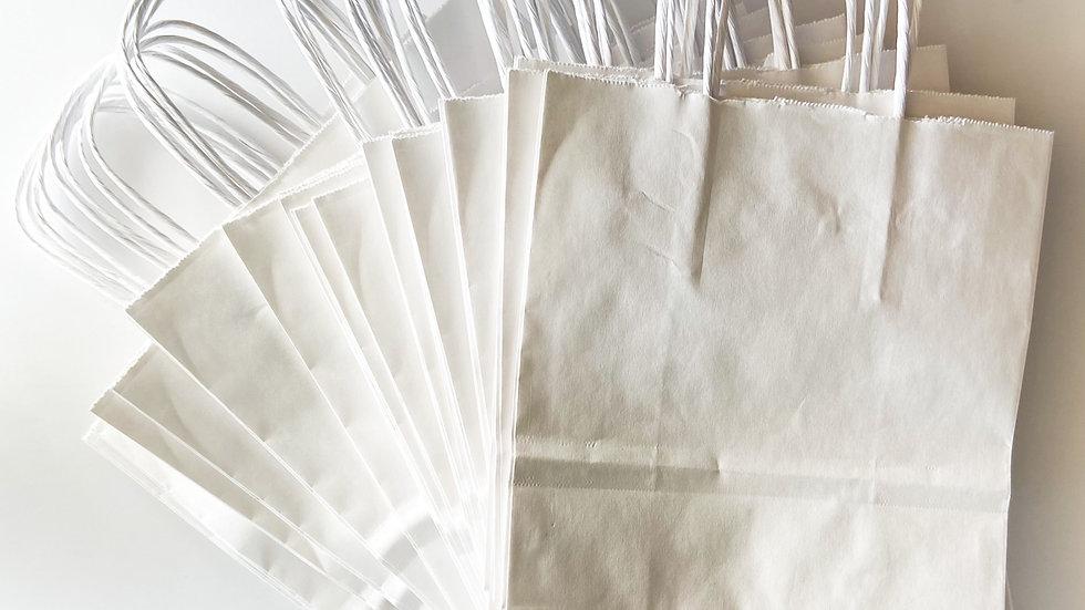 "White Paper Shopping Bags - 8 x 4 1⁄2 x 10 1⁄4"""