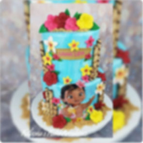 Moana Inspired Baby Shower Cake with Tre