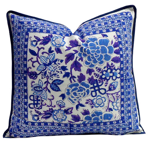 MING WHITE ON  BLUE CUSHION COVER