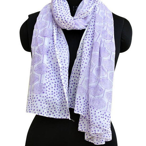 PURPLE FAN FLOWER SCARF