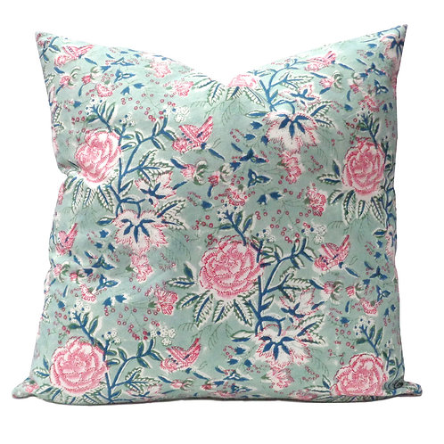 ROSE AQUA CUSHION COVER