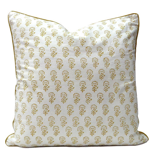 GOLD FLOWER CUSHION COVER