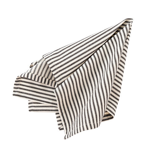FRENCH TICKING NAPKIN SET BLACK