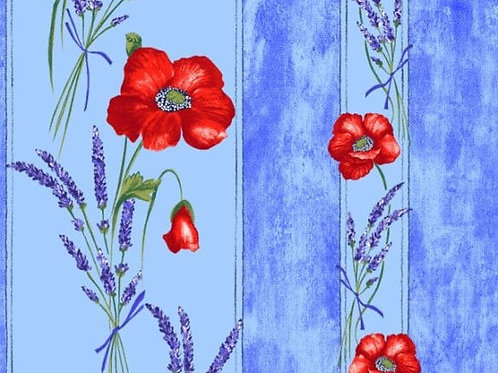 POPPIES LIGHT BLUE cotton