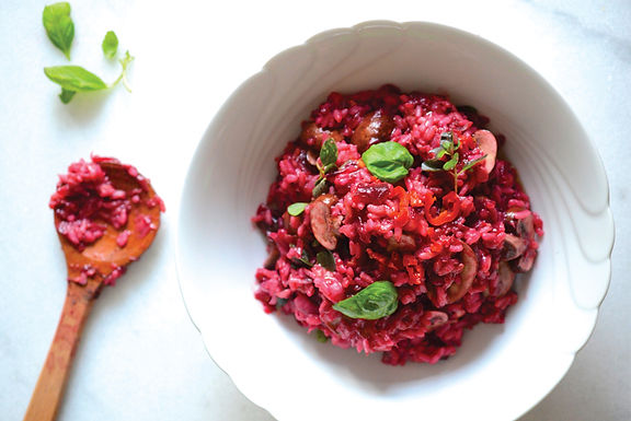 Almuerzo risotto morado