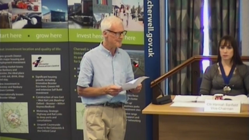 Giles Lewis addressing councillors at Cherwell District Council, 22 July 2019