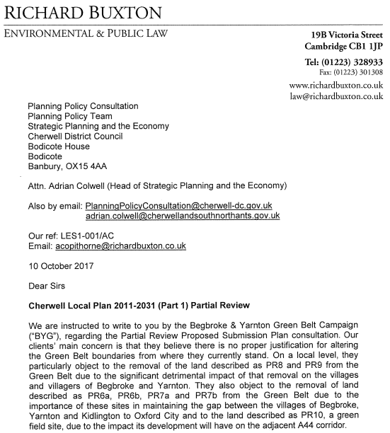 BYG Response to Cherwell District Council Local Plan Partial Review