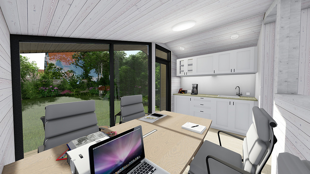 Meeting room with kitchen in the private home office