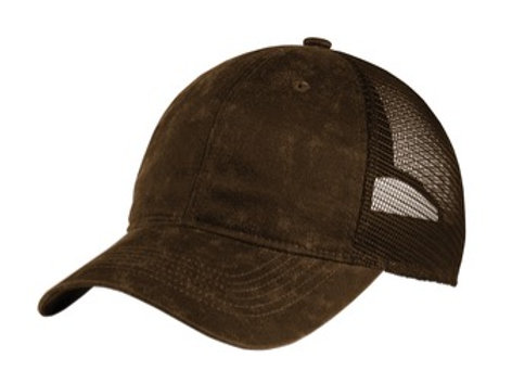 Oiled Leather Look Mesh Back Hat