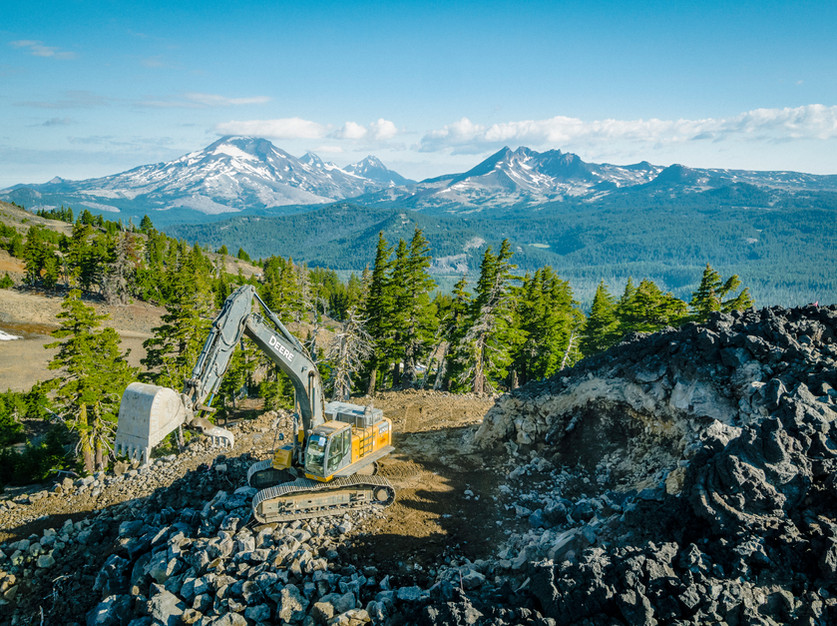 Fisheye Aerial Media capturing the new zip line construction on Mt. Bachelor