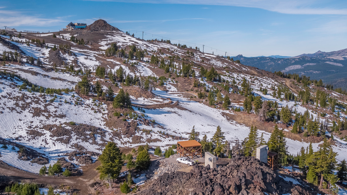 Drone footage of Mt. Bachelor's new zip line concrete footings