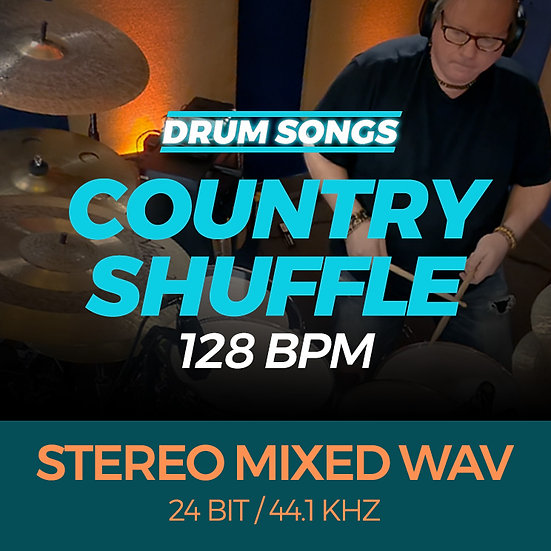 DRUM SONGS Country Shuffle 128bpm STEREO MIXED WAV