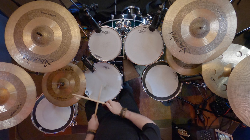 Darrell Nutt playing drums top view