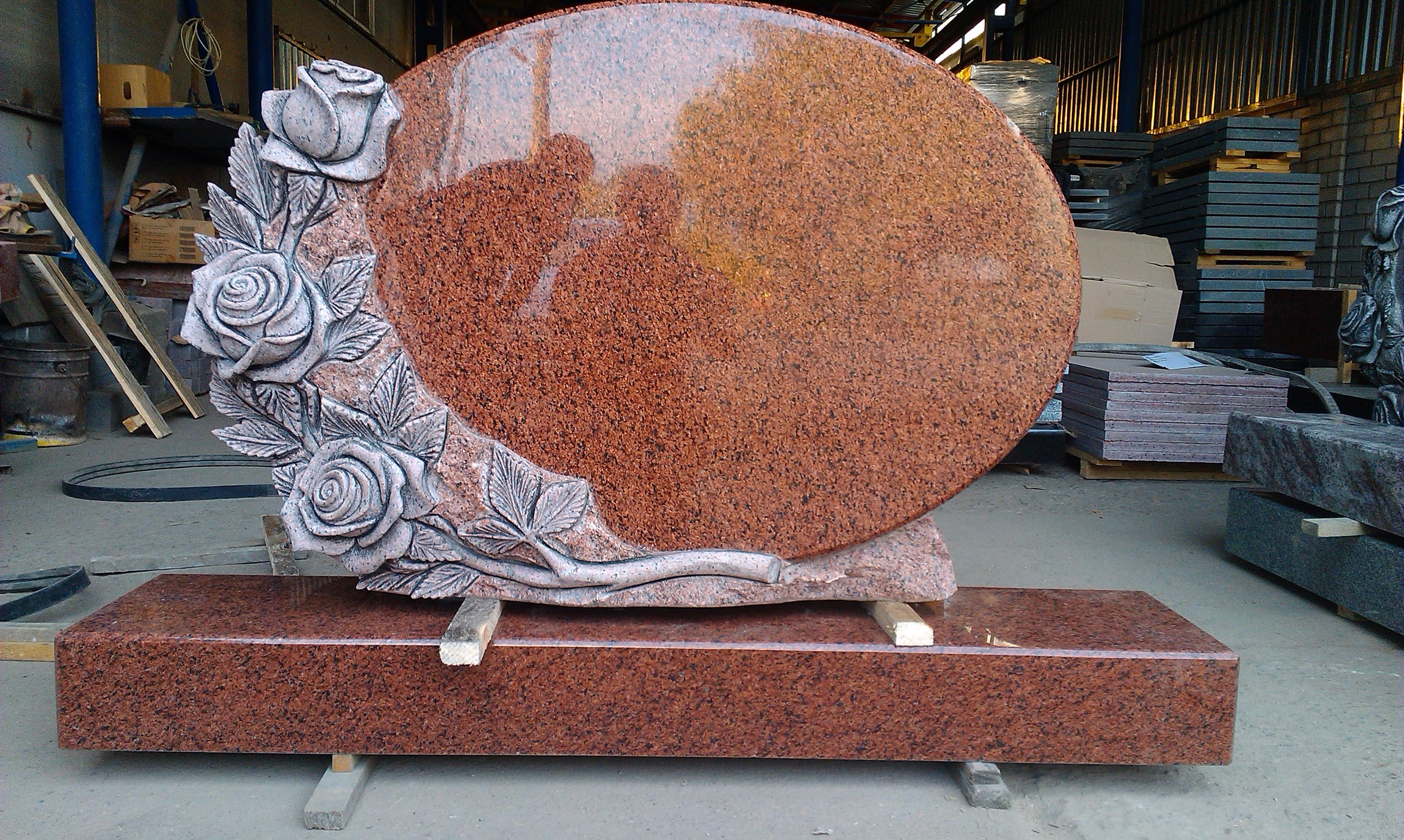 Granite roses. Red granite.