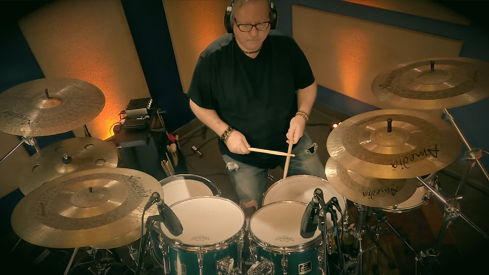 Darrell Nutt recording drums for Drum Song Tools video series.