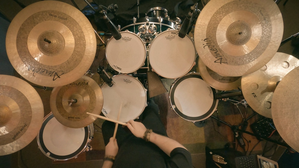 Top view of Darrell Nutt playing the drums.