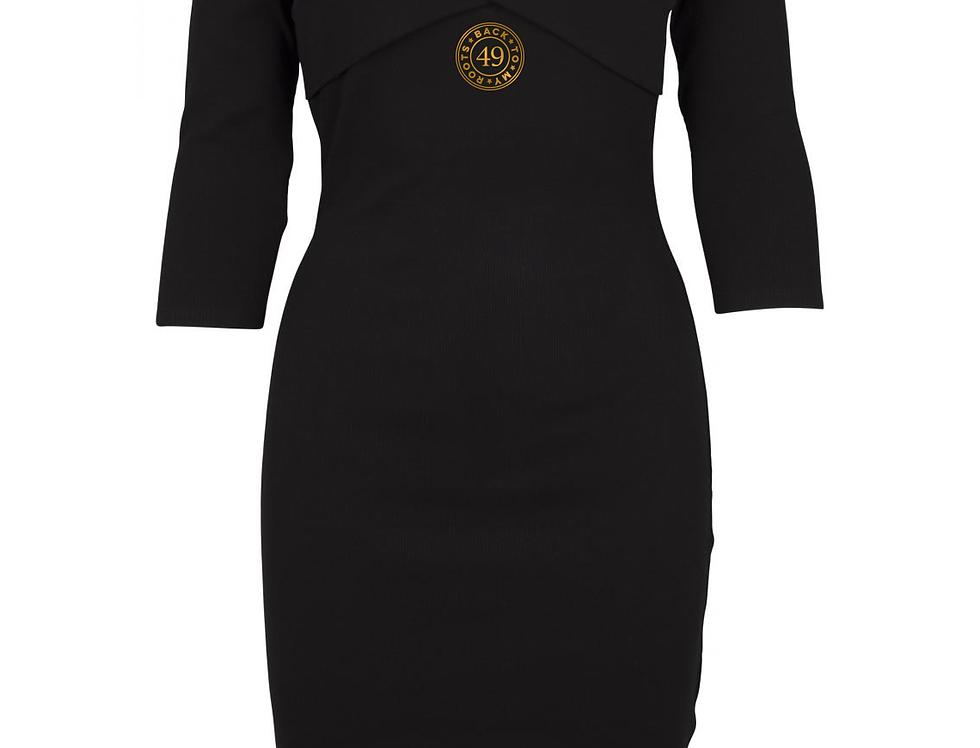 zwart off-shoulder cross dress indo 49