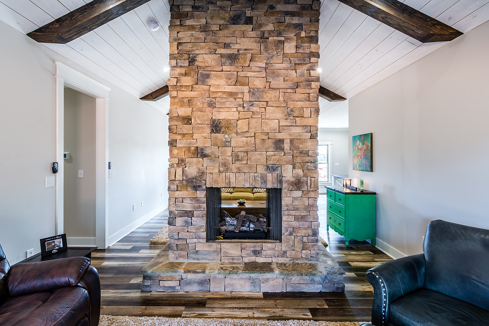 Stand alone fireplace in a custom built new home in Tuscumbia, AL