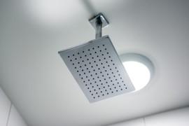 Rainhead shower in master shower