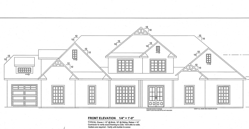 Custom blueprints in a St. Florian, AL home. Architect drawn house plans