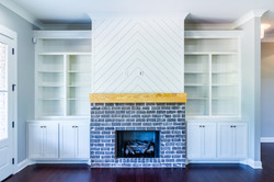 Shiplap fireplace detail new home