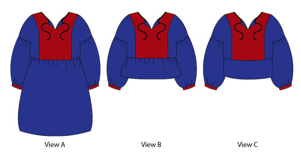 March Top and Dress Line Drawing
