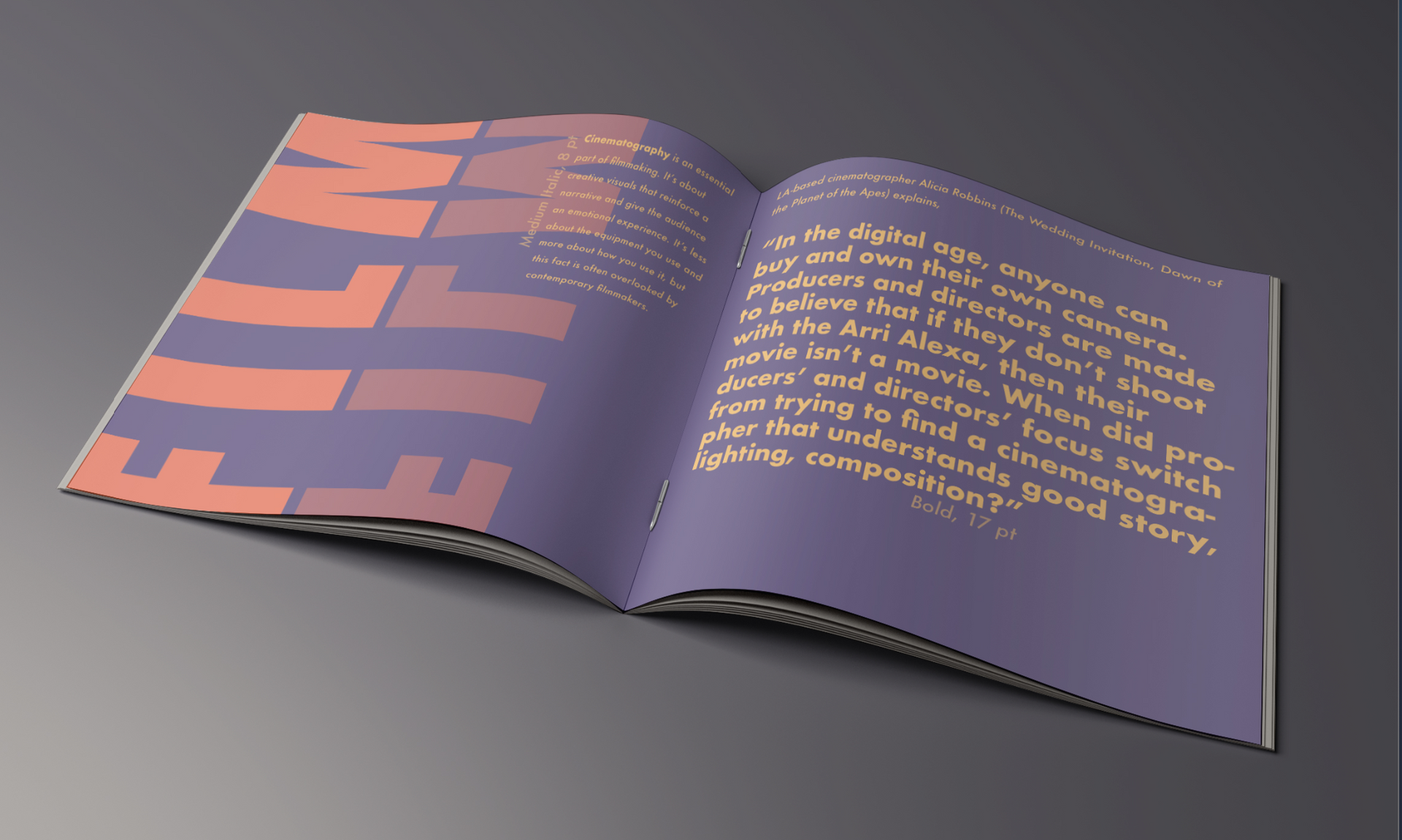 futura font booklet cinematography