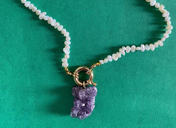 Colar Biwa, Pérolas & Ametista - Biwa Necklace, Pearls & Amethyst